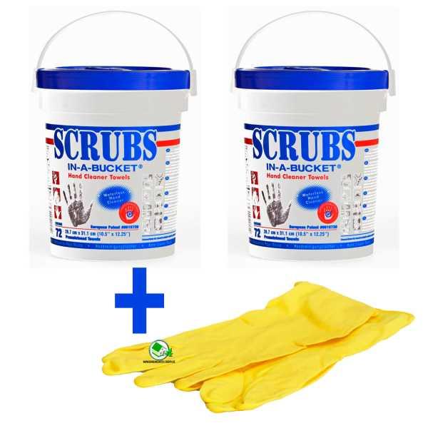 Set 2 Stück Scrubs Reinigungstücher für Hand und Flächen, 72 Box, inklusive Gummihandschuhe