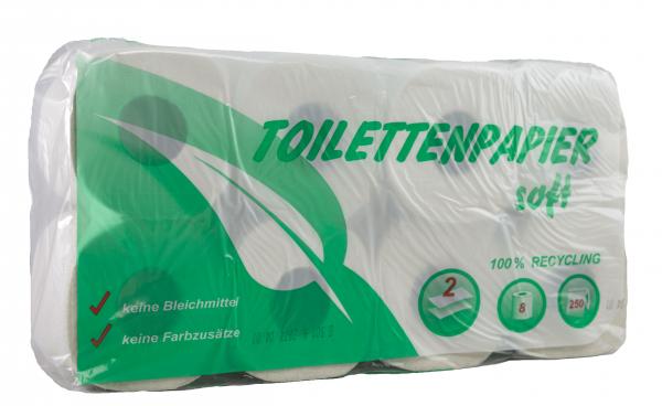 Toilettenpapier 2-lagig, weiß (RC), 250 Blatt, 8 Rollen / VE