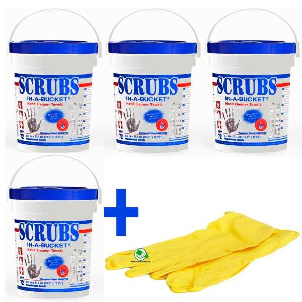 Set 4 Stück Scrubs Reinigungstücher für Hand und Flächen, 72 Box, inklusive Gummihandschuhe