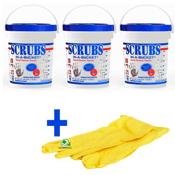 Set 3 Stück Scrubs Reinigungstücher für Hand und Flächen, 72 Box, inklusive Gummihandschuhe
