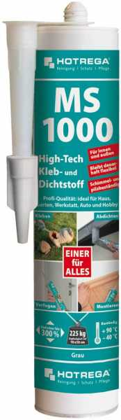 Hotrega MS 1000 High-Tech Kleb- und Dichtstoff 290 ml Kartusche, grau
